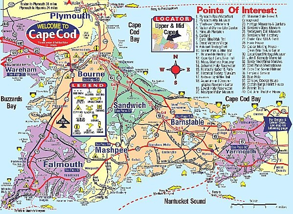 Mid and Upper Cape Cod map