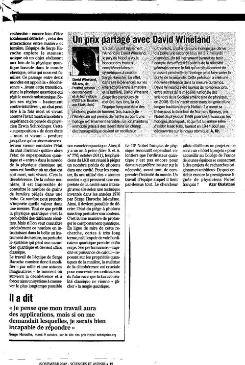 Serge HAROCHE Science et avenir Novembre 2012