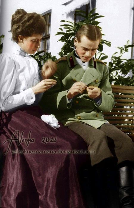 MISHA AND TORIA. Grand Duke Michail Alexandrovich Romanov of Russia with his cousin Princess Victoria of England.: