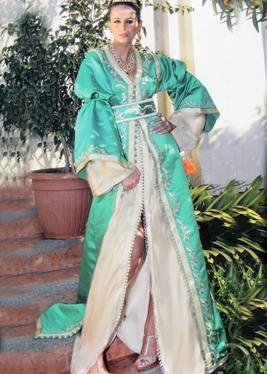 Takchita moderne-2015-verte-pour cérimonie du Hénne pour mariage marocaine traditionnel TAK-S896