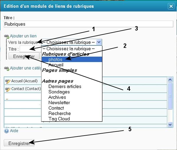 Créer des articles avec liens dans le menu