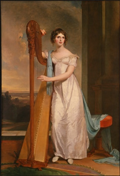 Eliza Ridgley and Harp by Thomas Sully