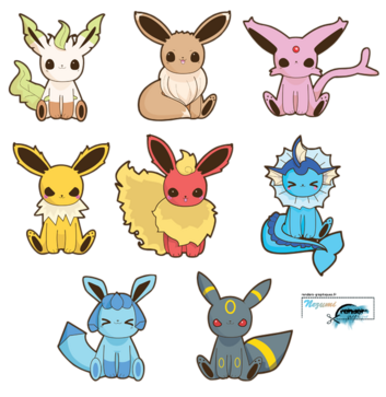 Render Pokemon - Renders A Little Kitty  Pokemon Evoli Voltali Aquali Pyroli Mentali Noctali Phyllali Givrali Kawaii Chibi