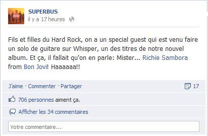 richie sambora en guest star sur une solo  pour la sortie du nouvel album de superbus le 27 aout 2012