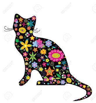 Illustration Silhouette D'un Chat Avec Des Fleurs Et Des étoiles Sur Le  Fond Blanc Clip Art Libres De Droits , Vecteurs Et Illustration. Image  12145434.