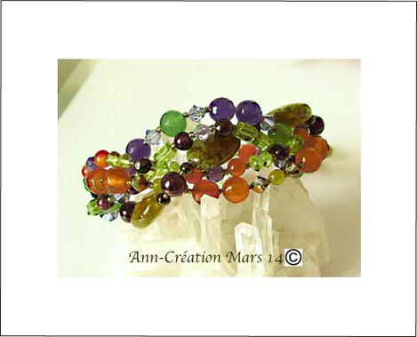 Bracelet tressé Pierres Multicolores  / Argent 925 - Multicoloured Gemstones Bracelet