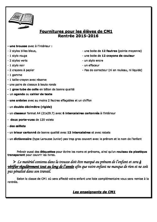 Listes fournitures scolaires 2015-2016