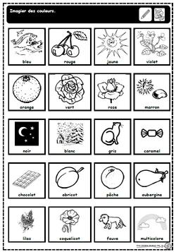 Imagier: les couleurs à colorier, cp, gs, ce1