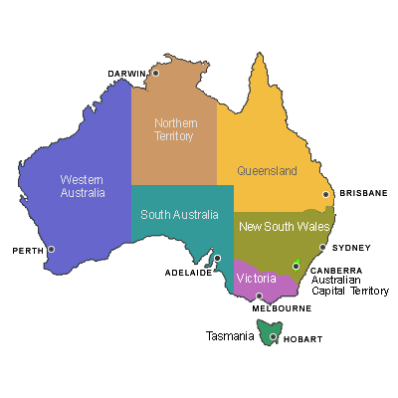 Australia Map 2017.Map Australian States And Territories Afp Cv