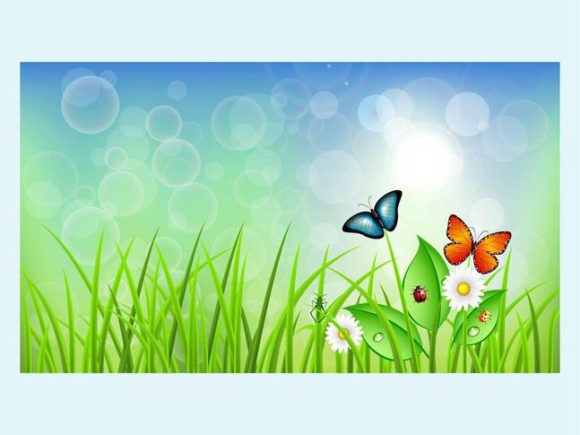 fleur papillons carte de voeux de nature de printemps Vecteur gratuit