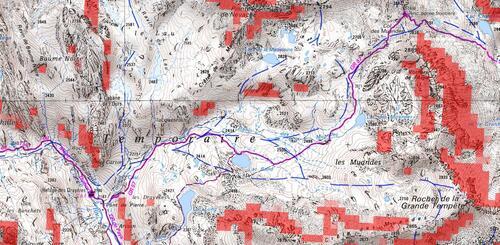 Carte du Topo Raquette Col des Muandes depuis le refuge des Drayères