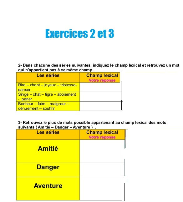Exercices Sur Le Champ Lexical L Examen Normalise College Lycee