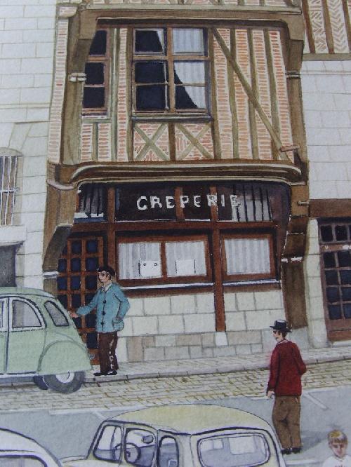 Détails de l'aquarelle réalisée par Michel LE BRIGANT représentant la Place Plumereau du vieux TOURS (37)