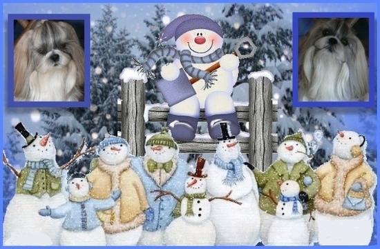 2 cadres avec bonhommes de neige - 15bpg-1ej - normal