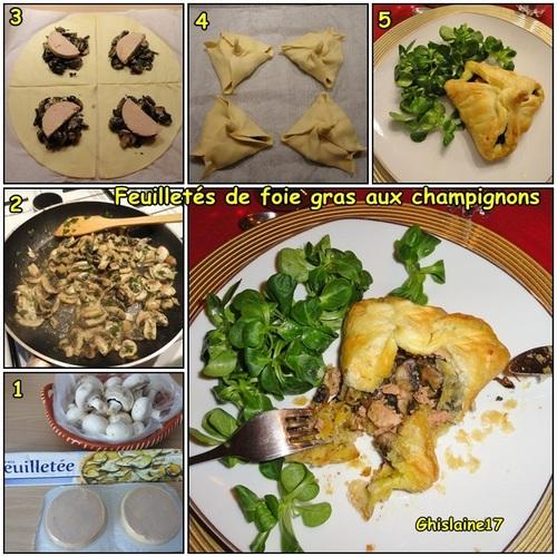 Feuilletés de foie gras aux champignons