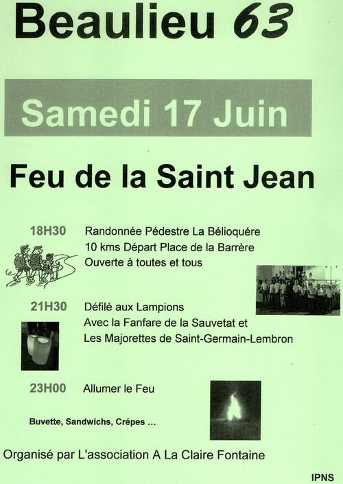 Feu de la Saint Jean à BEAULIEU.17.06.2017