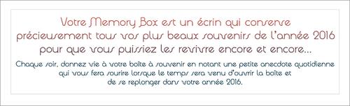 Calendrier - Memory Box 2016