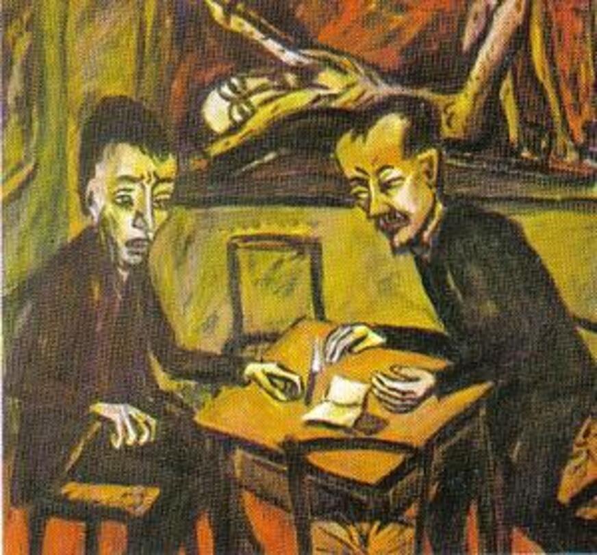 Erich Heckel, Deux hommes autour d'une table, 1912. Hambourg Kunsthalle.