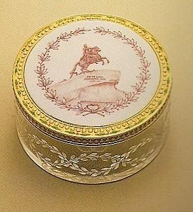 Boîte Pierre le Grand or, émail, cristal de roche