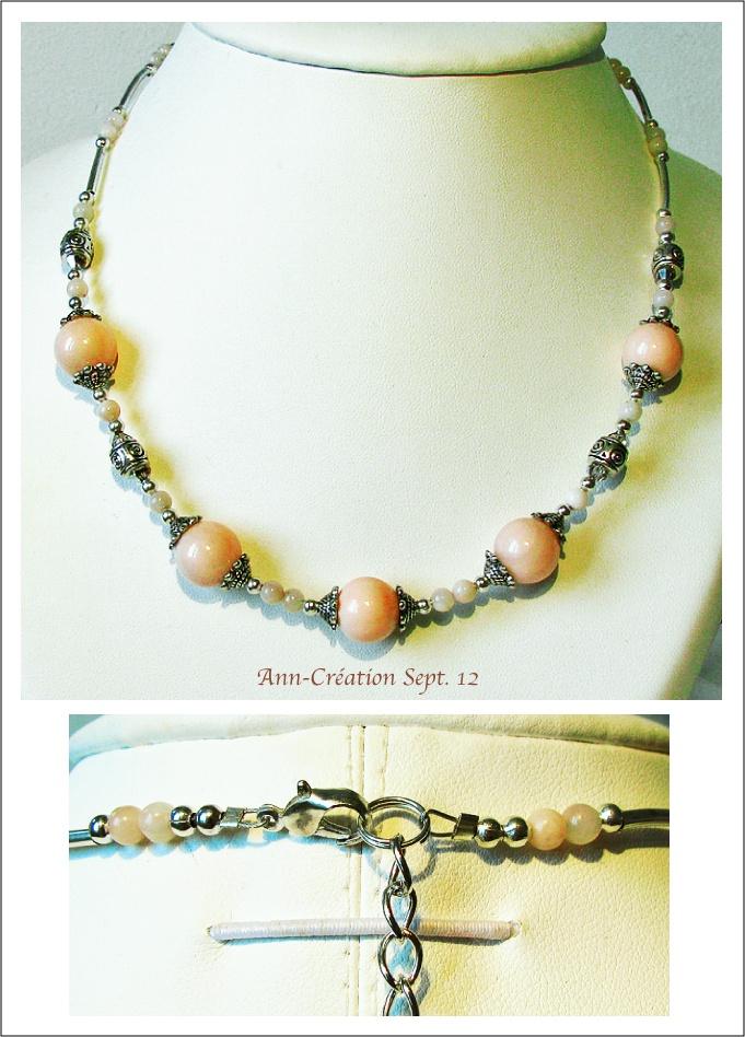 Collier Perles de Coquillage Rose Corail Clair / Plaqué Argent