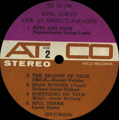 "King Curtis : Album "" Live At Small's Paradise "" Atco Records SD 33-198 [ US ]"