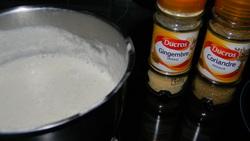 Dos de cabillaud, coques, chorizo, crème coco...