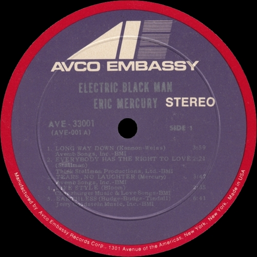 "Eric Mercury : Album "" Electric Black Man "" AVCO Embassy Records AVE-33001 [ US ]"