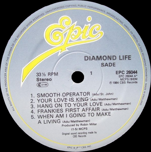 "Sade : Album "" Diamond Life "" Epic Records EPC 26044 [ UK ]"