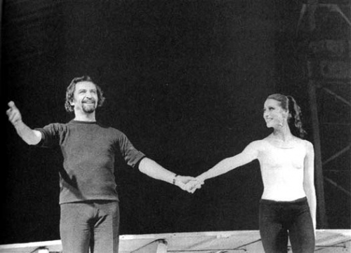 Maïa Plissetskaïa et Maurice Béjart après Le Boléro