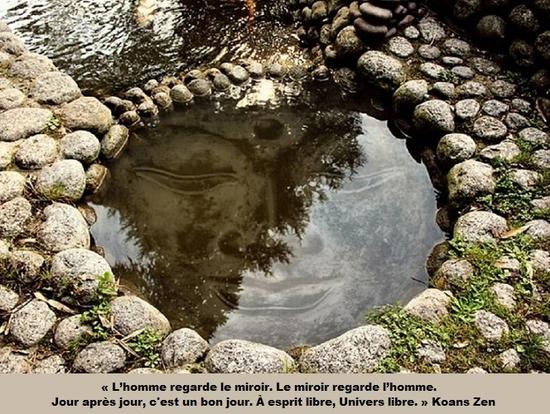 homme regarde miroir bouddha bassin