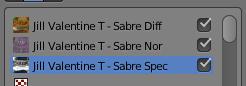 Les 3 textures pour mapper le sabre