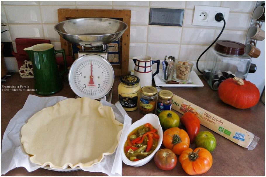 Recette Tarte aux tomates, poivrons et anchois