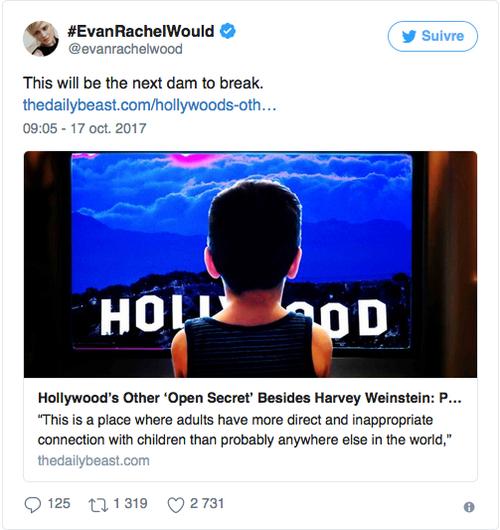 ➤ Pour Evan Rachel Wood, la pédophilie sera le prochain scandale à Hollywood