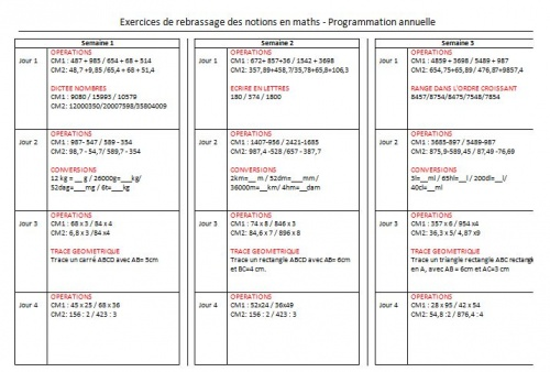 EXERCICES DE REBRASSAGE DES NOTIONS MATHEMATIQUES