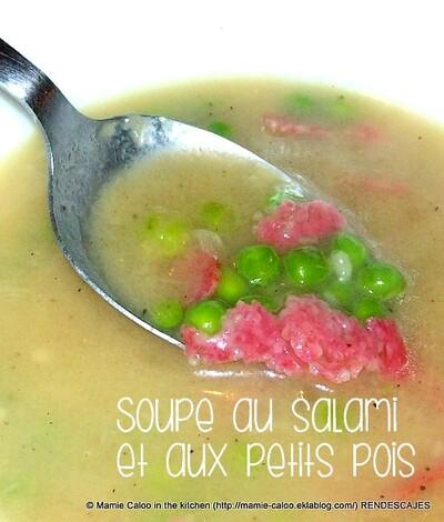 Soupe au salami et aux petits pois