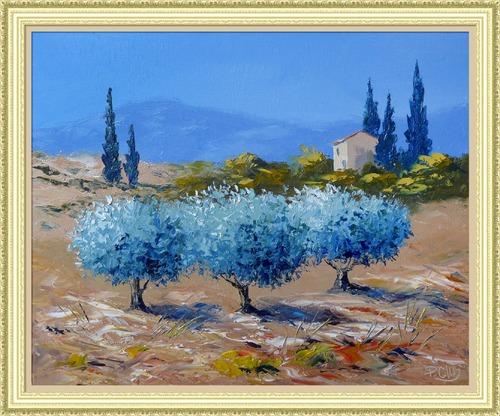 Dessin et peinture - vidéo 2259 : Les oliviers de Provence, au couteau 3 - peinture à l'huile ou à l'acrylique.