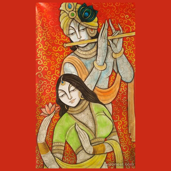 radha krishna indian artwork