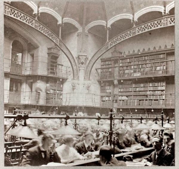 La grande salle de lecture de la Bibliothèque de Droit (photo datée 17 juin 1917