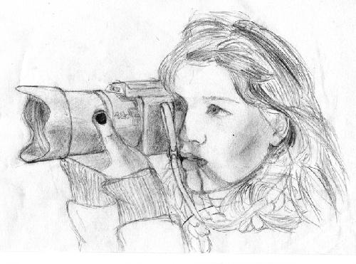 Jeune fille à l'appareil photo