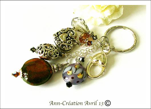 Porte-clés / Bijou de Sac Verre Lampwork Brun Argent / Bag jewel - Key ring