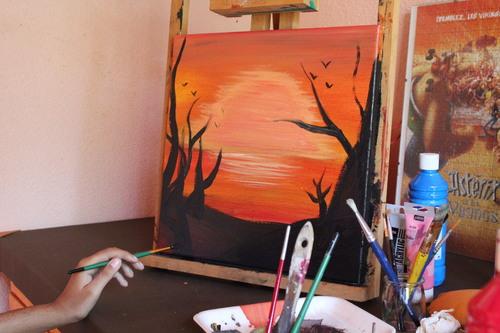 Peinture paysage au coucher de soleil