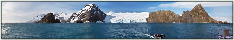 Photo panoramique interactive 3D (sonorisée) de Elephant Island et Wild Point avec le buste du Commandant Pardo sauveur des hommes de Ernest Shackleton - Iles Shetland du Sud