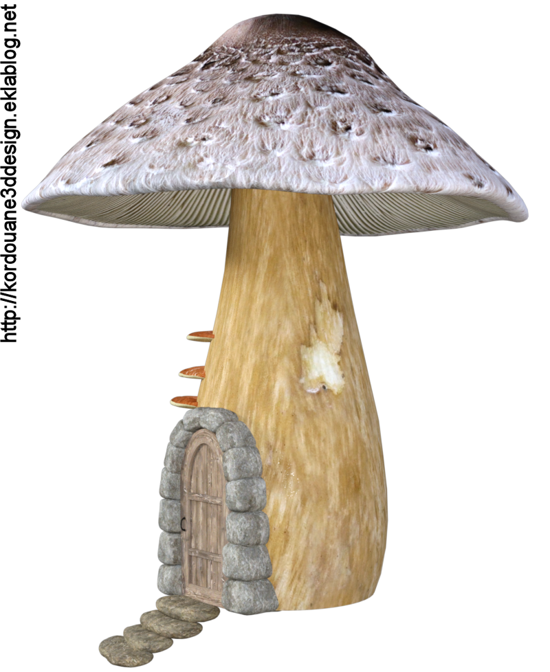 Tube de maison champignon fantasy (render)