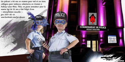 dessin de JERC lundi 13 février 2017 caricature commissariat d'Aulnay-Sous-Bois Les policiers d'Aulnay sont présumés innocents jusqu'à ce que la justice enterre l'affaire. www.facebook.com/jercdessin