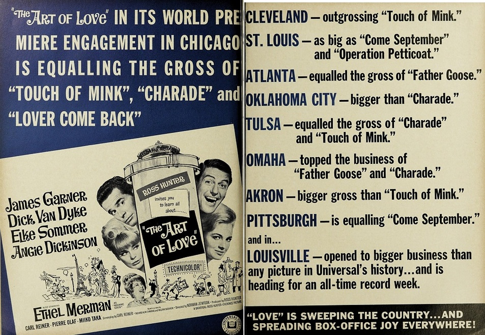 THE ART OF LOVE BOX OFFICE USA 1965