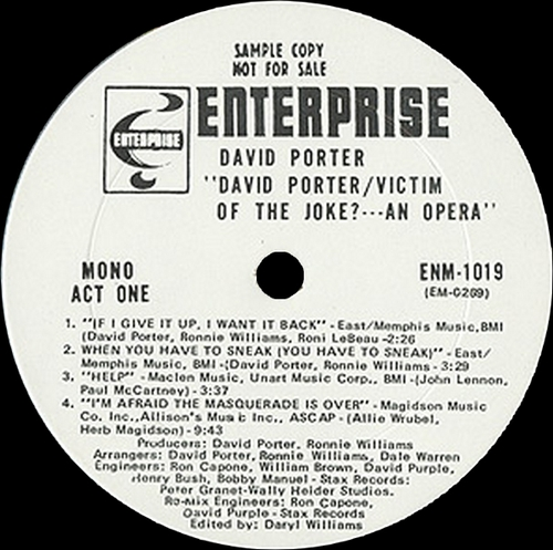 "David Porter : Album "" Victim Of The Joke ?....An Opera "" Enterprise Records ENS-1019 [ US ]"
