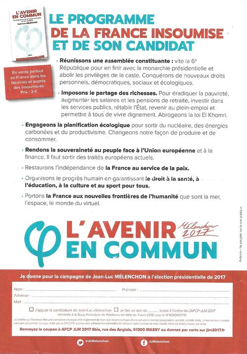 Réunion publique-Jean-Luc Mélenchon-Mardi 28  février 19 h 30 à Brest (ARENA tramway-polygone)