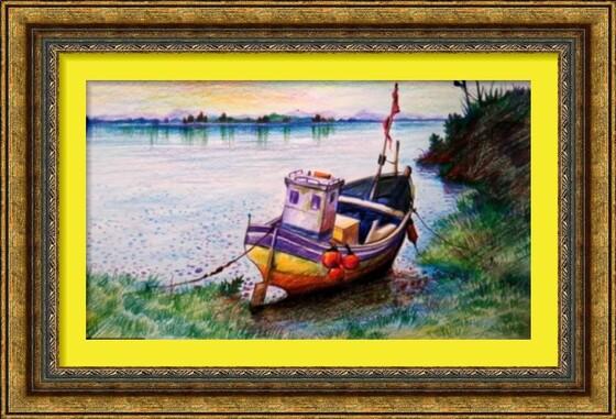 Dessin et peinture - vidéo 2383 : la barque prés de la berge - crayons de couleur.
