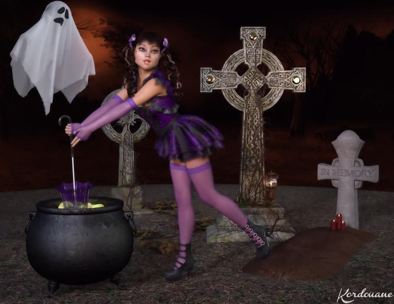 Une sorcière bien étourdie (Halloween-DazStudio)