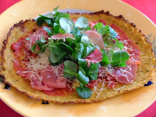 Pizza base chou-fleur aux champignons